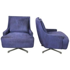 Pair Aubergine Scoop Swivel Lounge Chairs, Metal Base by Barbara Barry for HBF