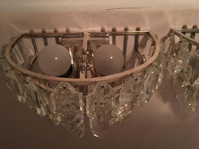 Pair of Austria Tiered Crystal Glass Sconces For Sale 4