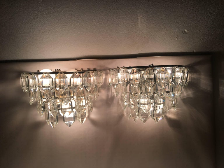 Austrian Pair of Austria Tiered Crystal Glass Sconces For Sale