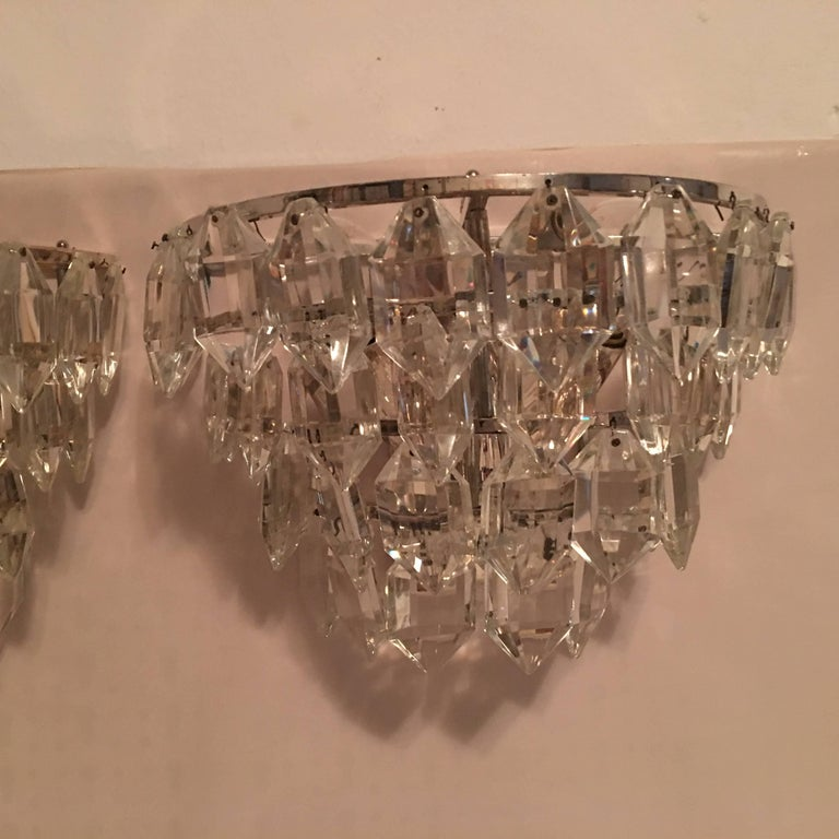 Pair of Austria Tiered Crystal Glass Sconces In Good Condition For Sale In Frisco, TX