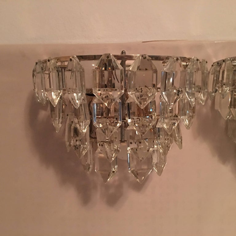 Mid-20th Century Pair of Austria Tiered Crystal Glass Sconces For Sale