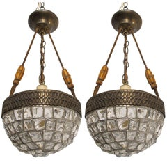 Pair Austrian Glass Chunky Jewel Chandelier Pendant Light Fixtures, circa 1920