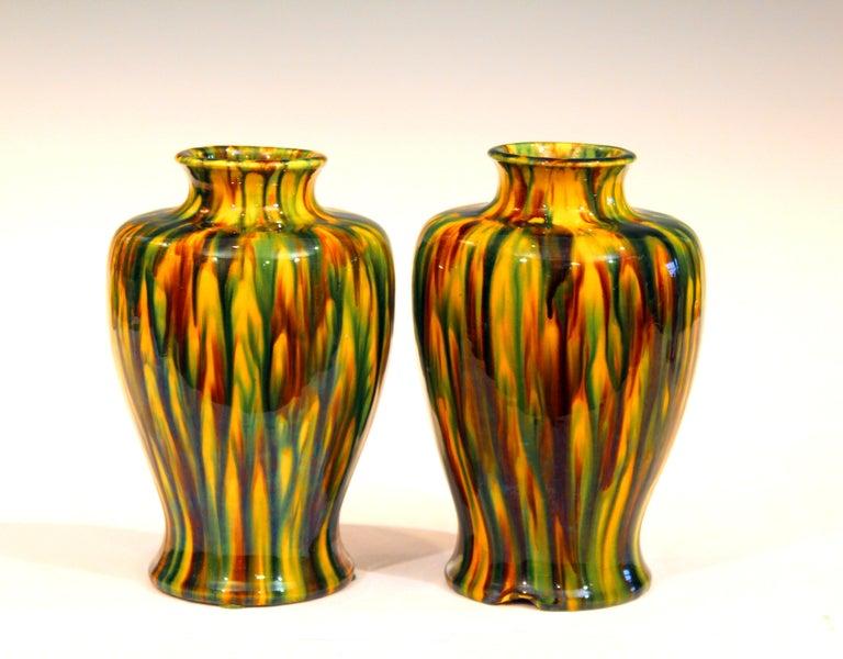 Turned Pair of Awaji Pottery Art Deco Japanese Garniture Yellow Flambe Glaze Vases For Sale