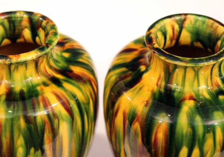Pair of Awaji Pottery Art Deco Japanese Garniture Yellow Flambe Glaze Vases For Sale 2