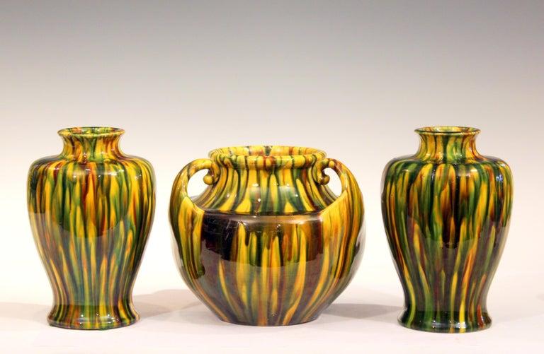 Pair of Awaji Pottery Art Deco Japanese Garniture Yellow Flambe Glaze Vases For Sale 3