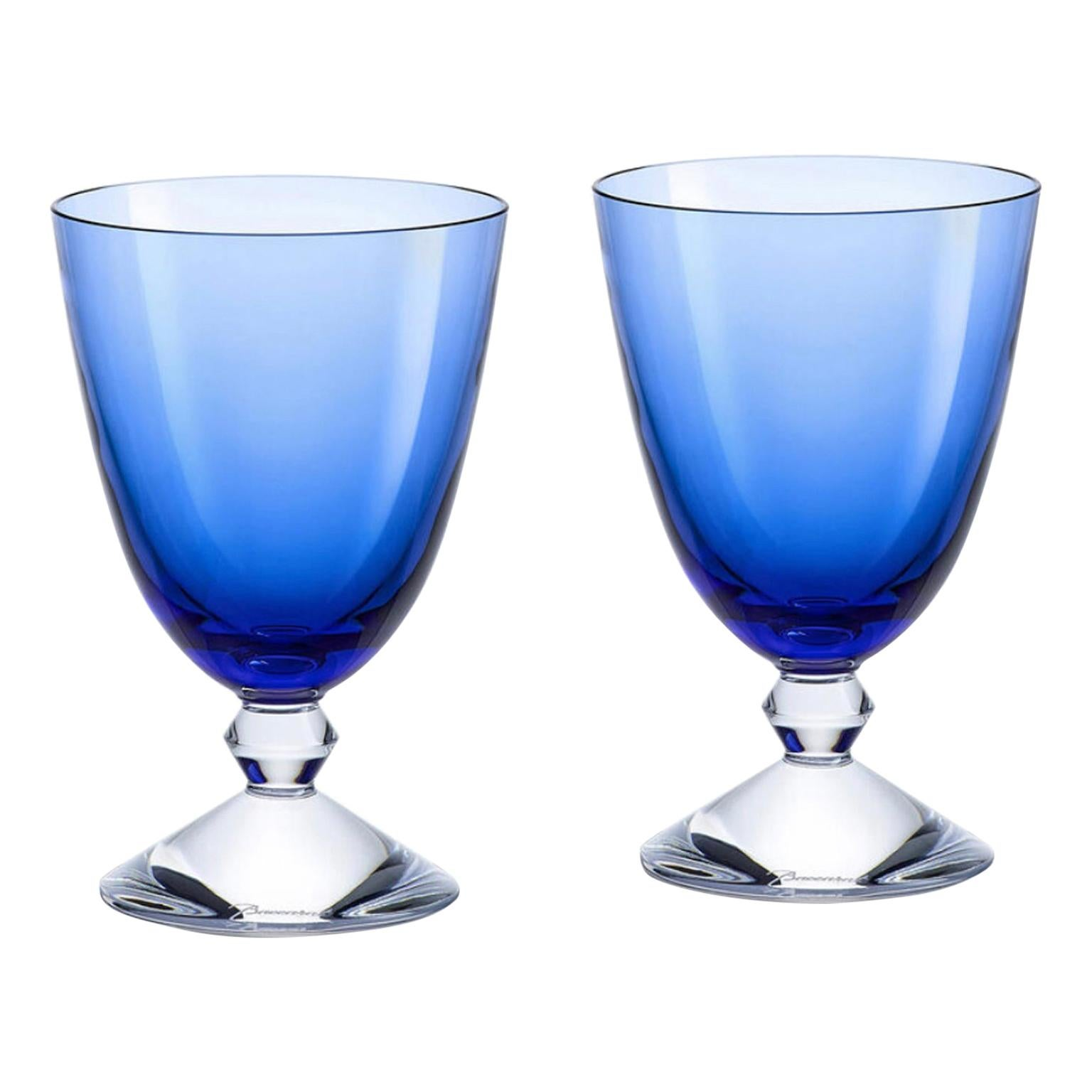 Pair of Baccarat Crystal Water Glasses Light Blue