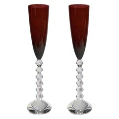 Pair Baccarat Red Crystal Goblet Flutes, France