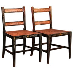 Pair Baker Adam Style Hand Decorated Ebonized Caned Side Chairs