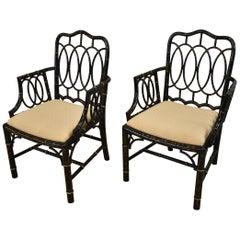Pair of Baker Furniture Asian Style Ebonized Armchairs Gilt Highlights