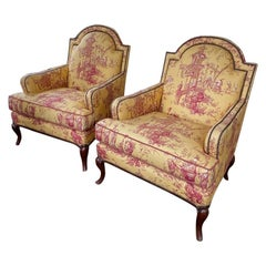 Pair Baker Furniture Asian Style Upholstered Side Chairs