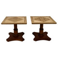Pair of Baker Furniture Marble Walnut Side Tables