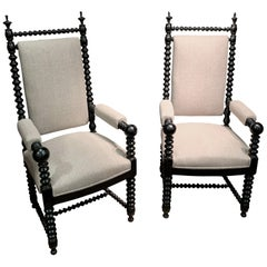 Pair of Upholstered Spindle Frame, Ball Armchairs, France, 19th Century
