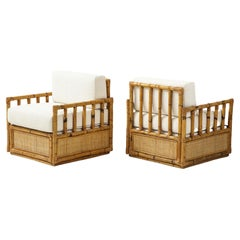 Pair Bamboo and Rattan Lounge Chairs by Vivai del Sud, Ivory Boucle, Italy 1970