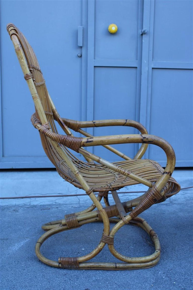 Curved pair of bamboo armchairs 1950s Italian design.