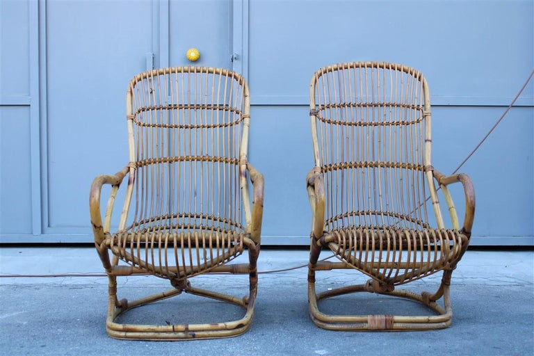 Curved Pair of Bamboo Armchairs 1950s Italian Design For Sale 1