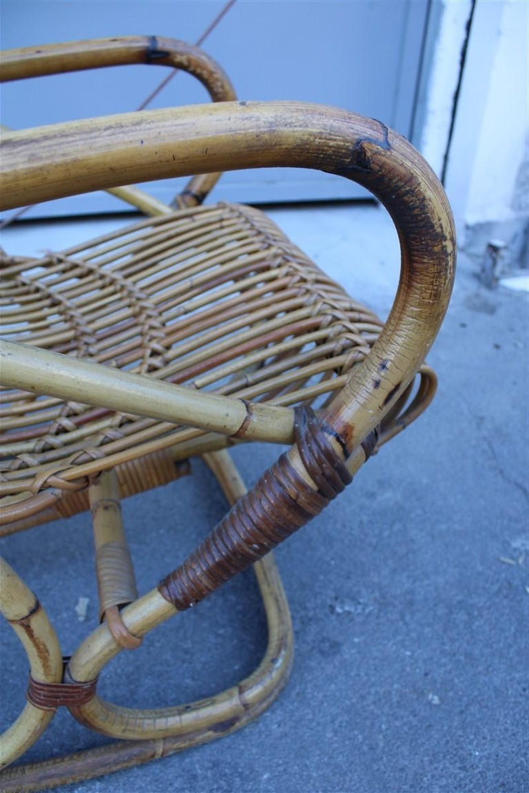 Curved Pair of Bamboo Armchairs 1950s Italian Design For Sale 3