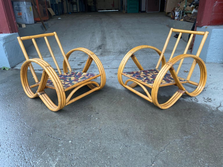 American Pair of Bamboo Art Deco Pretzel Lounge Chairs Attributed to Paul Frankl For Sale