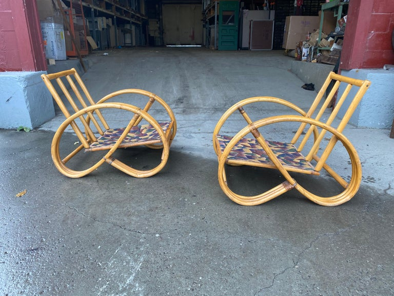 Pair of Bamboo Art Deco Pretzel Lounge Chairs Attributed to Paul Frankl In Good Condition For Sale In Buffalo, NY