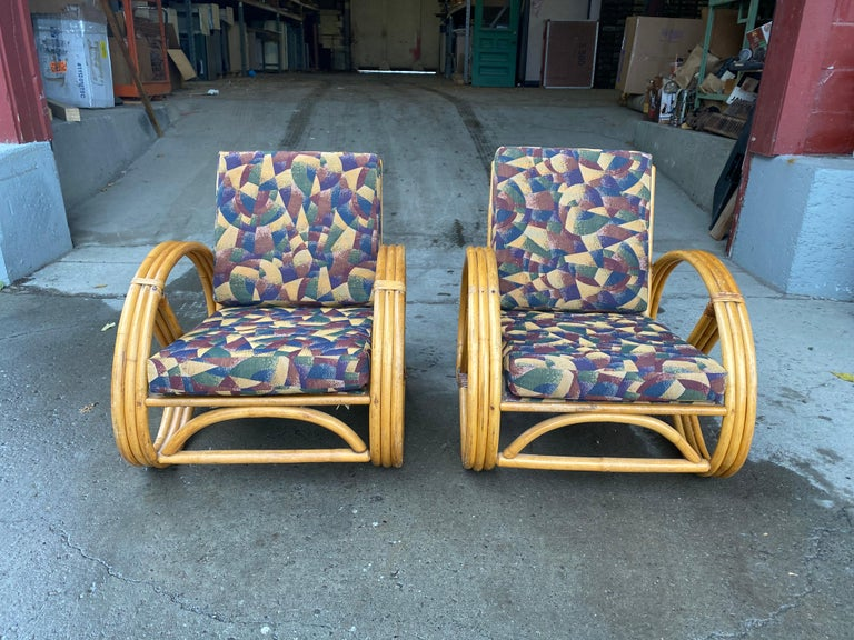 Fabric Pair of Bamboo Art Deco Pretzel Lounge Chairs Attributed to Paul Frankl For Sale