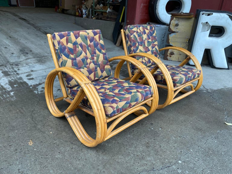Pair of Bamboo Art Deco Pretzel Lounge Chairs Attributed to Paul Frankl For Sale 2