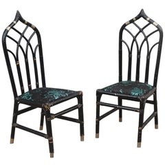 Pair of Bamboo Chairs Antonio Pavia Design Black Silver Flowers Made in Italy