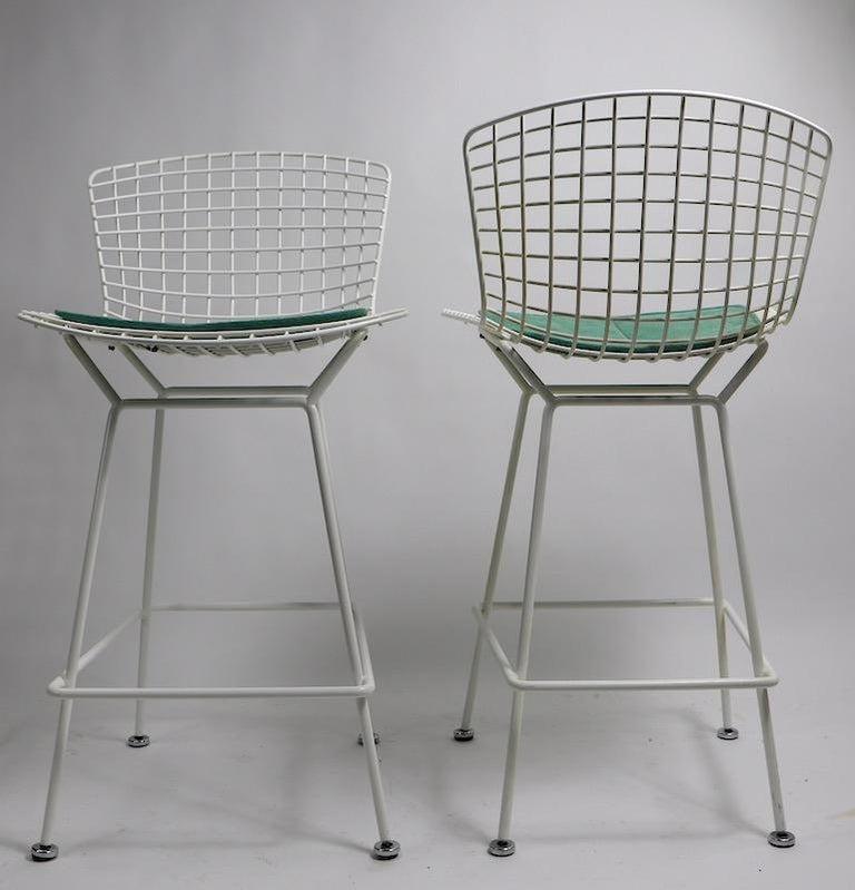 Pair of Bar Counter Stools by Bertoia for Knoll For Sale 1