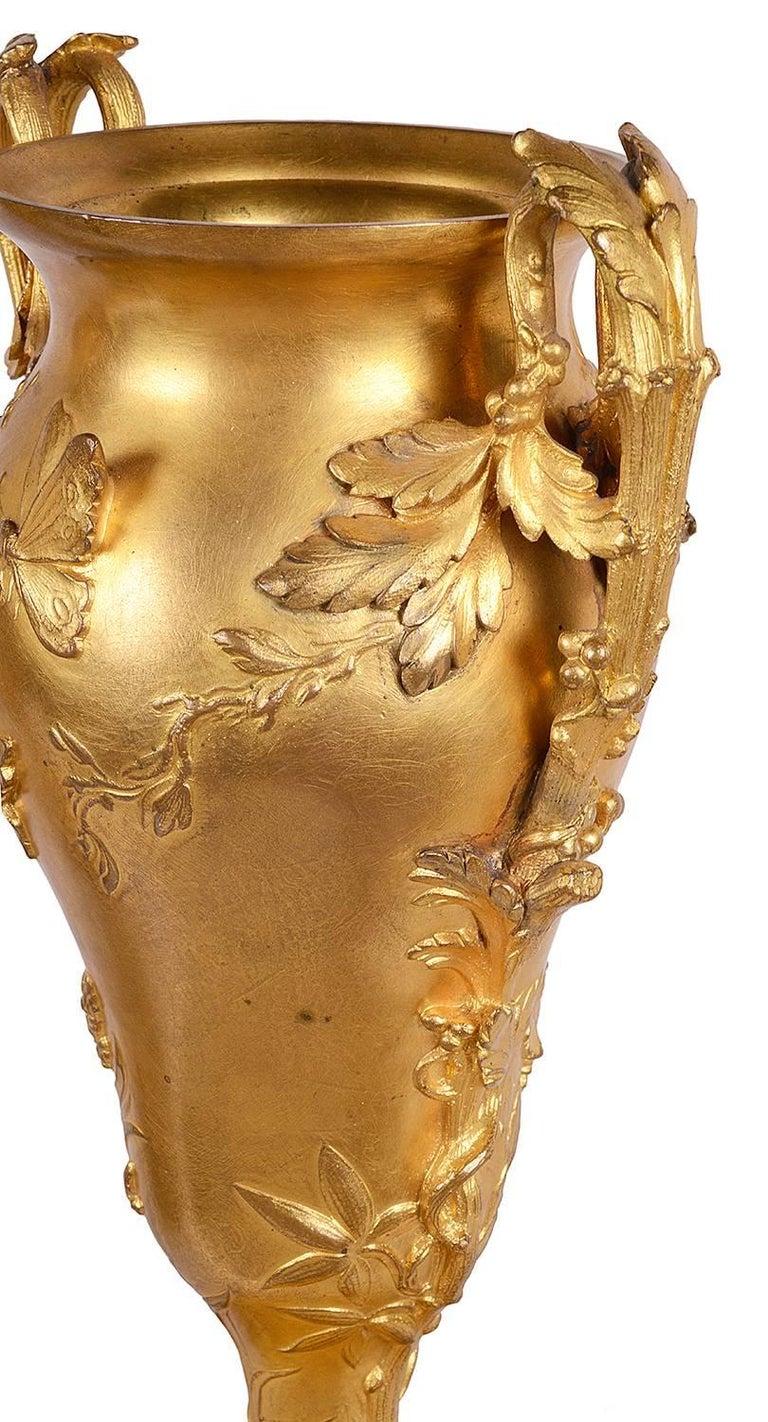 Louis XVI Pair of Barbedienne Ormolu Urns, 19th Century For Sale