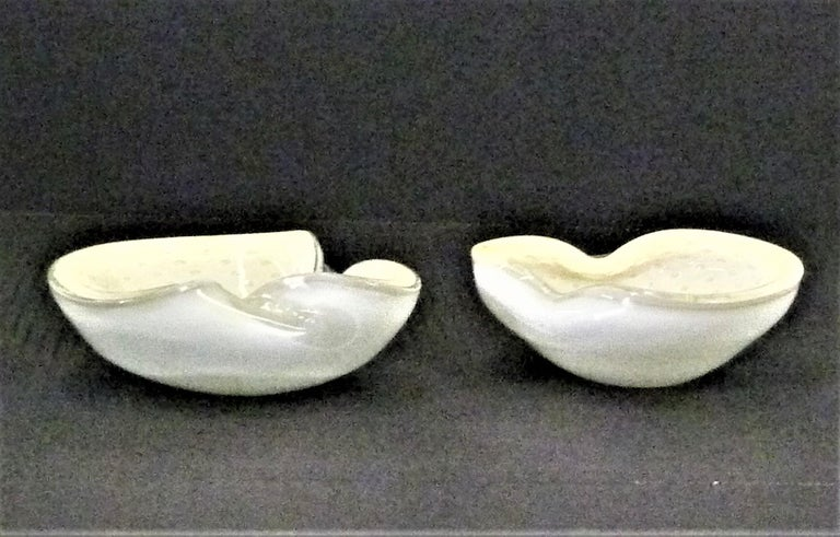 Barbini Mid-Century Modern Murano Vessels with Gold Inclusions Italy 1950s, Pair For Sale 9