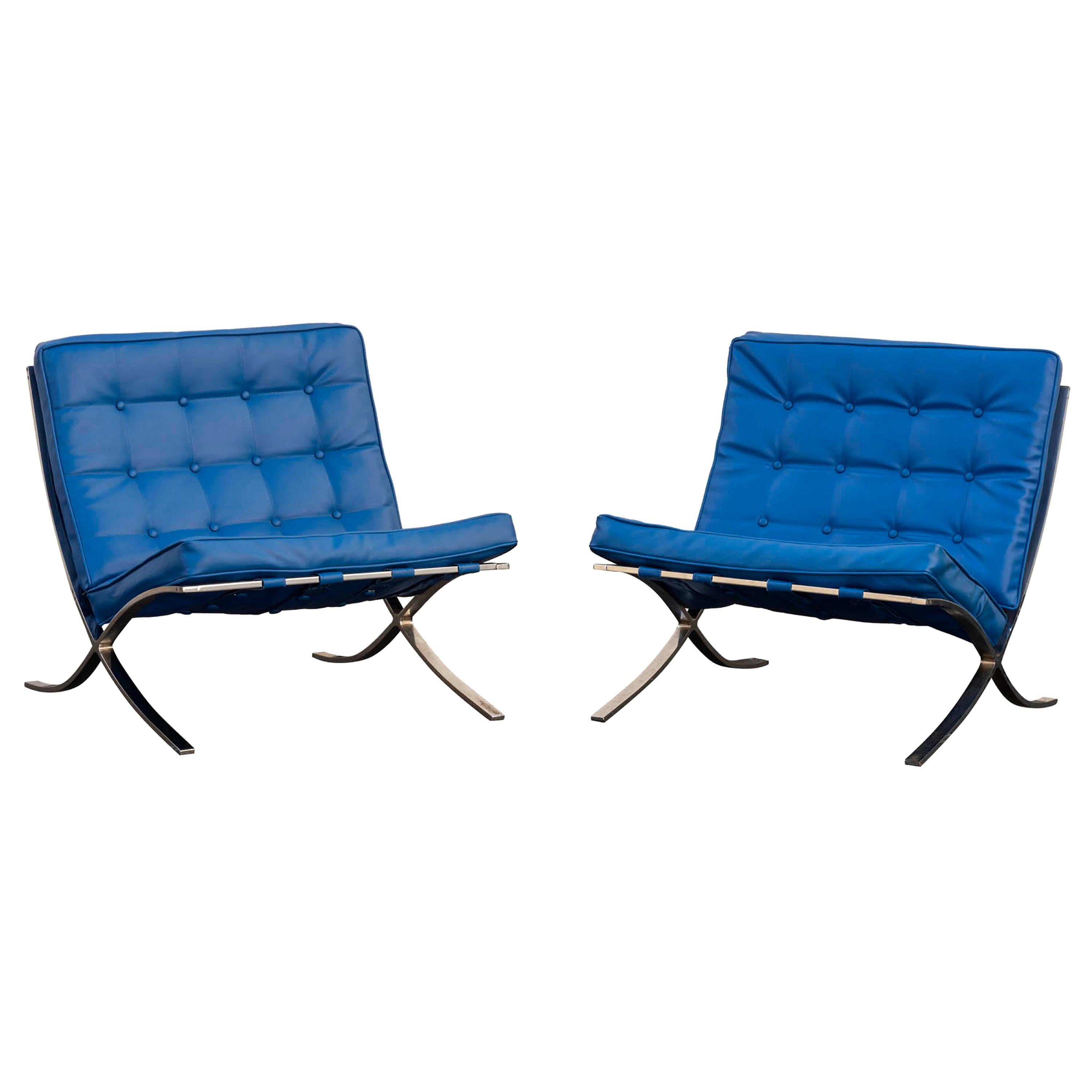 """Pair """"Barcelona"""" Chairs After Ludwig Mies van der Rohe"""