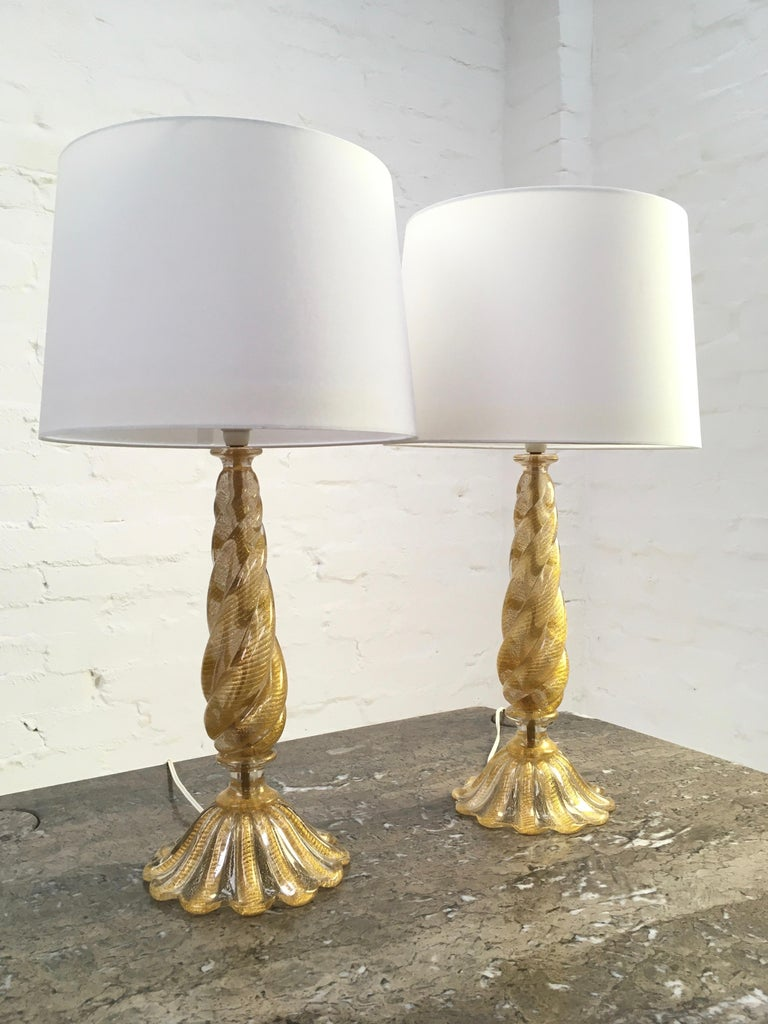 Pair of Barovier and Toso 'Cordonato D'oro' Murano Glass Lamps, Italy, 1950s In Good Condition For Sale In Melbourne, AU