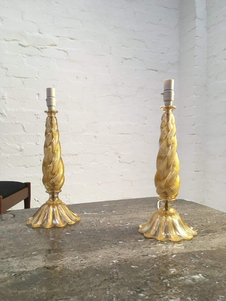 Mid-20th Century Pair of Barovier and Toso 'Cordonato D'oro' Murano Glass Lamps, Italy, 1950s For Sale