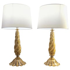 Pair of Barovier and Toso 'Cordonato D'oro' Murano Glass Lamps, Italy, 1950s