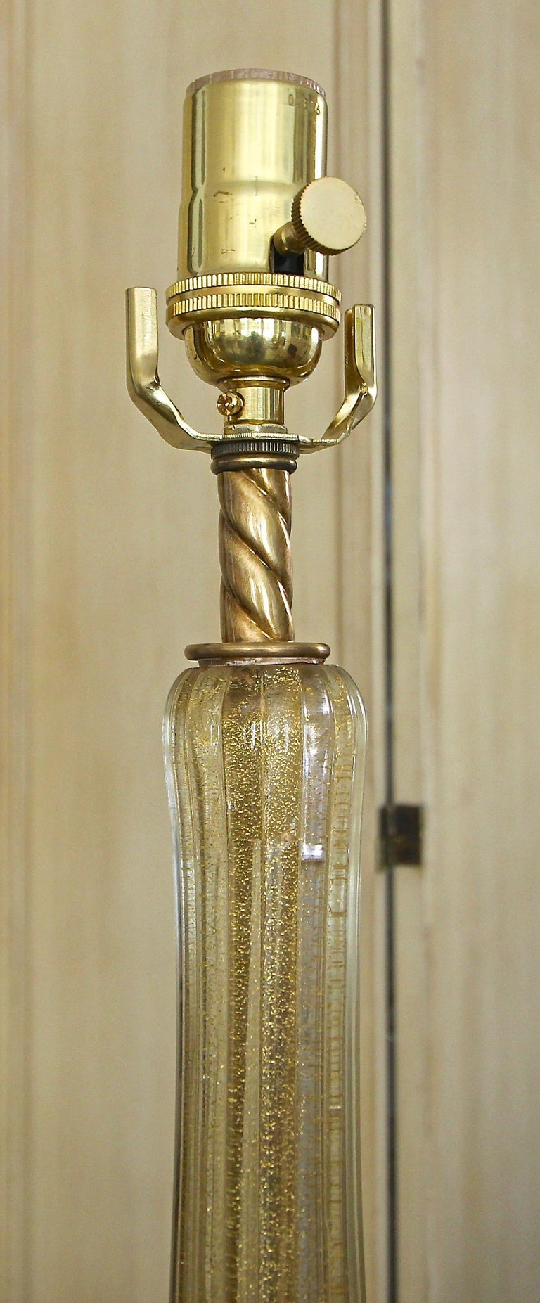 Pair murano Gold White Table Lamps For Sale 4