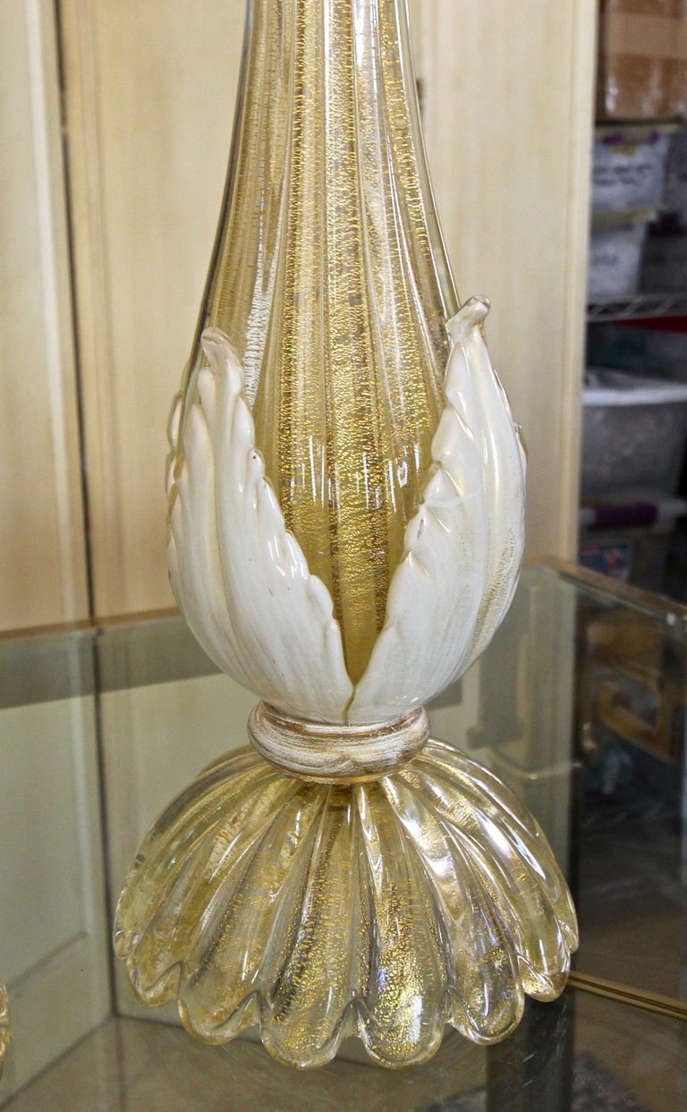 Pair murano Gold White Table Lamps For Sale 2