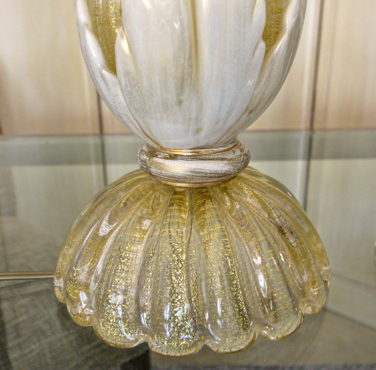 Pair murano Gold White Table Lamps For Sale 3