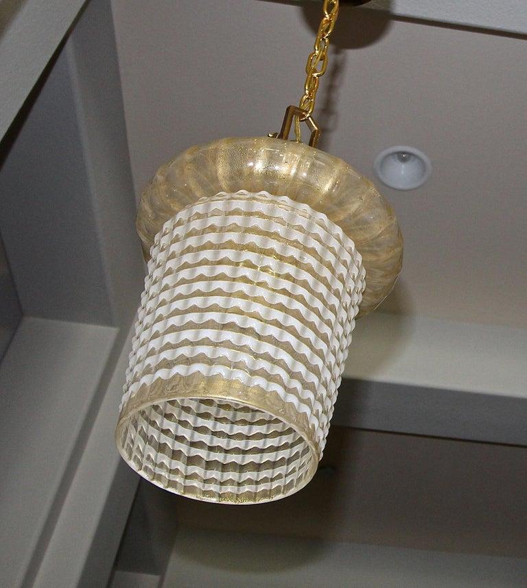 Brass Pair of Barovier Murano Gold White Lantern Pendant Ceiling Lights
