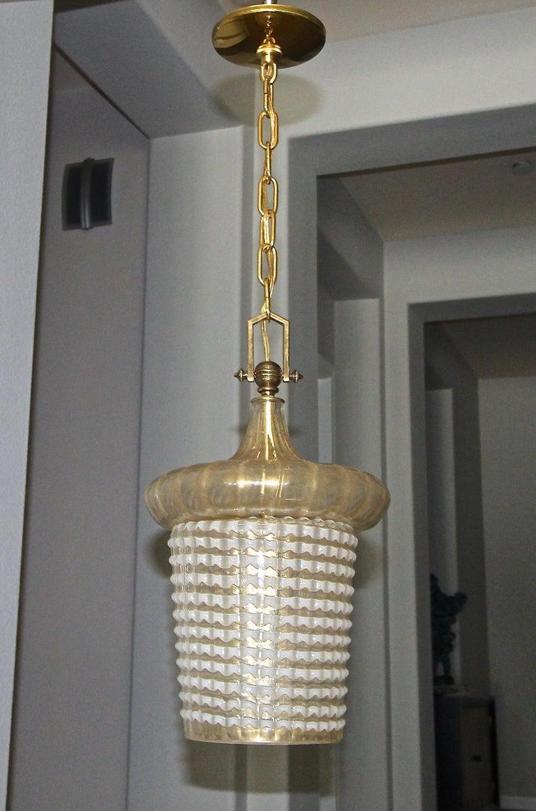 Mid-20th Century Pair of Barovier Murano Gold White Lantern Pendant Ceiling Lights