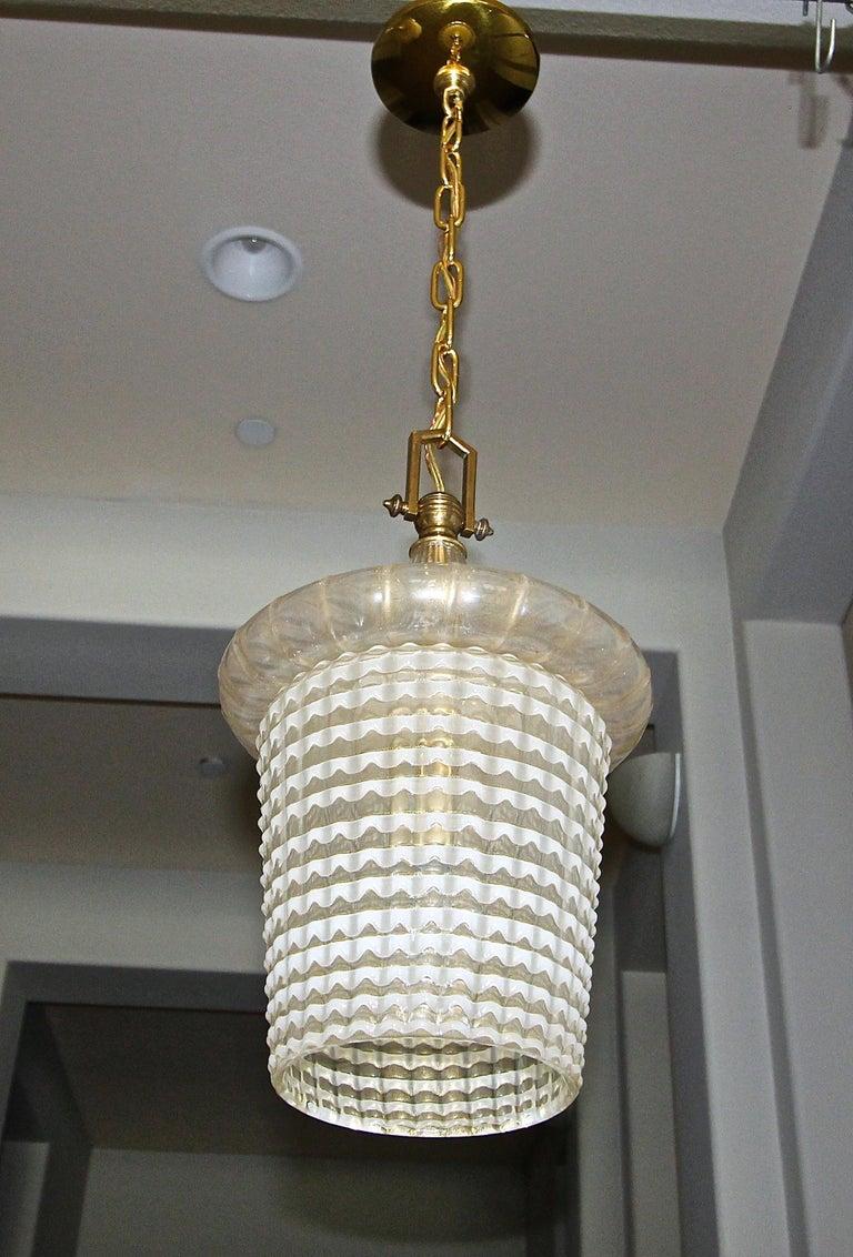 Italian Pair of Barovier Murano Gold White Lantern Pendant Ceiling Lights