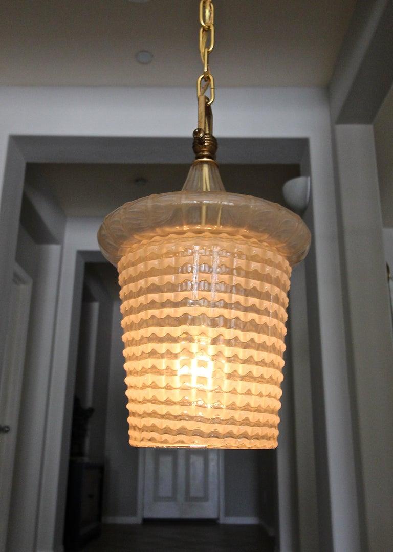 Pair of Barovier Murano Gold White Lantern Pendant Ceiling Lights 4