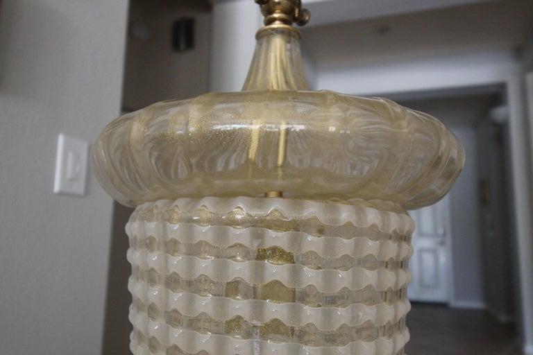 Pair of Barovier Murano Gold White Lantern Pendant Ceiling Lights 5