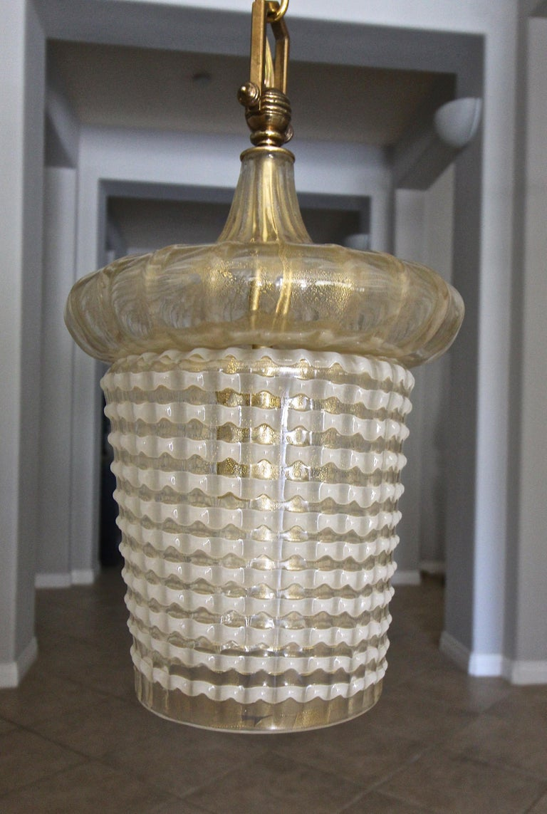 Pair of Barovier Murano Gold White Lantern Pendant Ceiling Lights In Good Condition In Palm Springs, CA