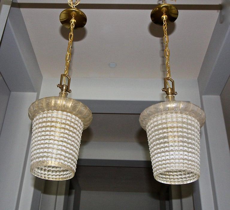 Pair of Barovier Murano Gold White Lantern Pendant Ceiling Lights 11