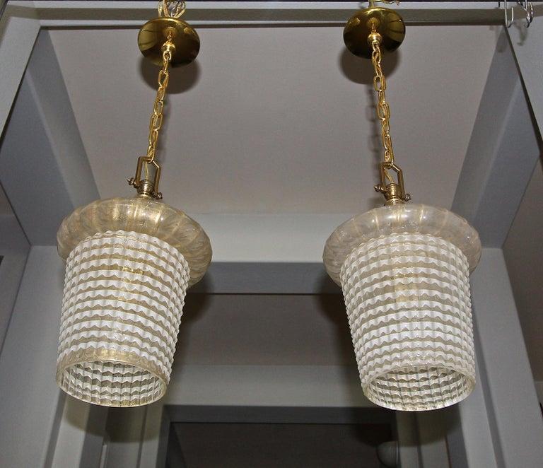 Pair of Barovier Murano Gold White Lantern Pendant Ceiling Lights 1
