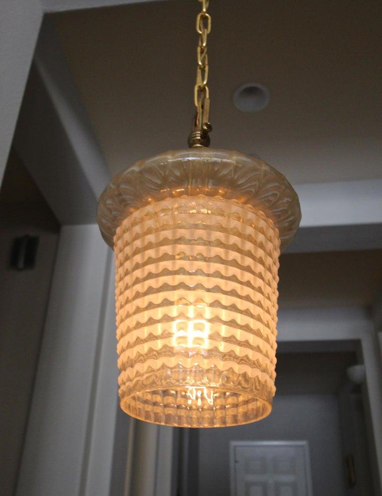 Pair of Barovier Murano Gold White Lantern Pendant Ceiling Lights 2