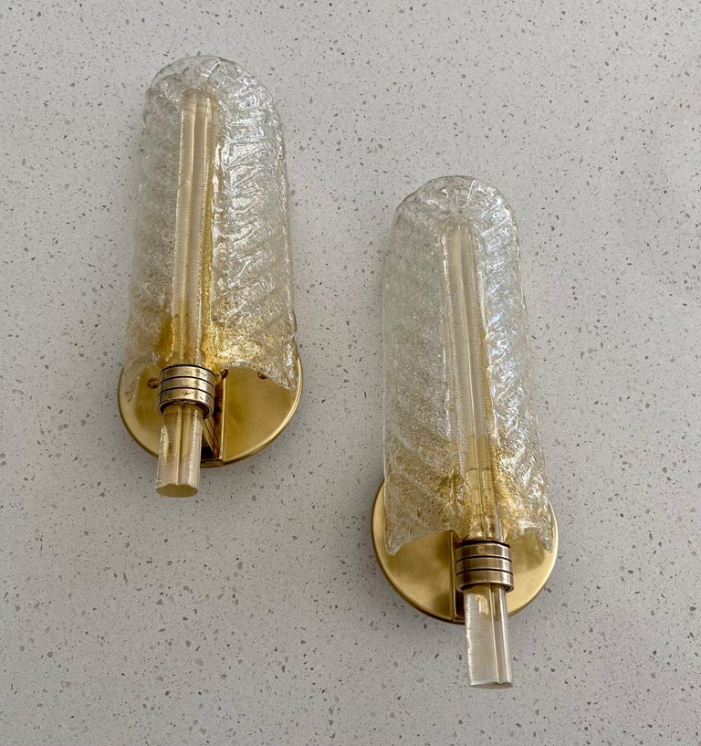Pair of Barovier Murano Rugiadoso Gold Leaf Wall Sconces For Sale 4