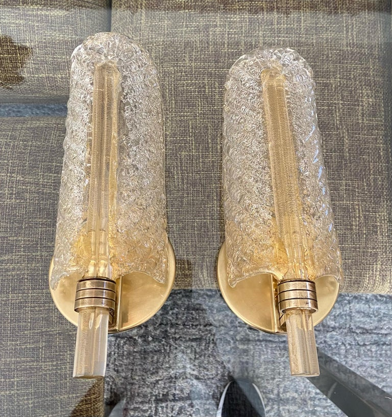 Pair of Barovier Murano Rugiadoso Gold Leaf Wall Sconces In Good Condition For Sale In Palm Springs, CA