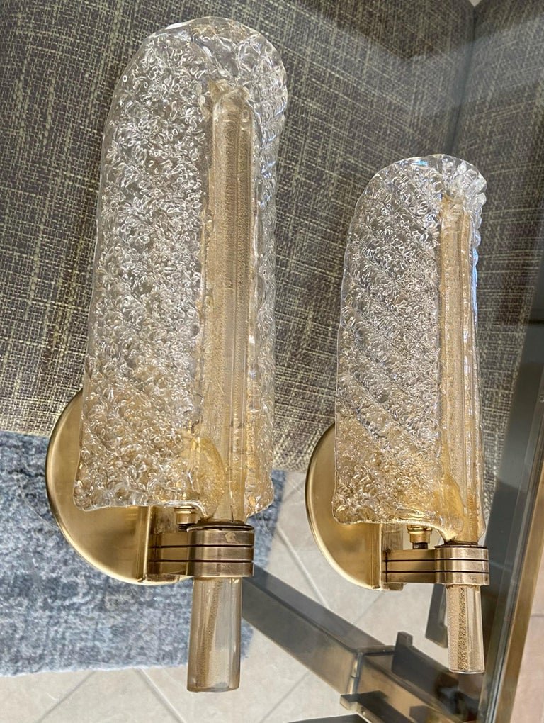 Mid-20th Century Pair of Barovier Murano Rugiadoso Gold Leaf Wall Sconces For Sale