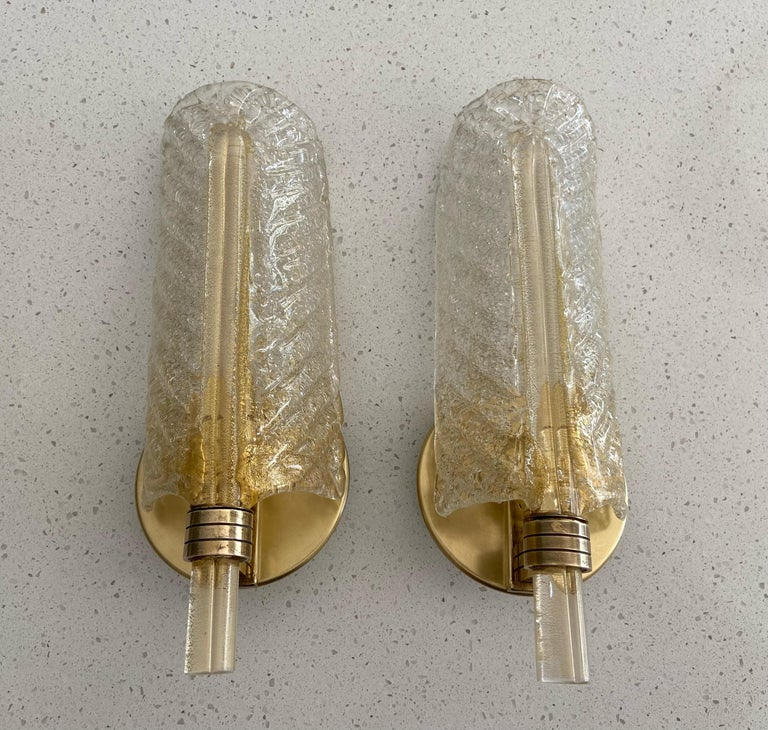 Pair of Barovier Murano Rugiadoso Gold Leaf Wall Sconces For Sale 3