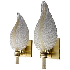 Pair Barovier Murano Rugiadoso Leaf Wall Sconces