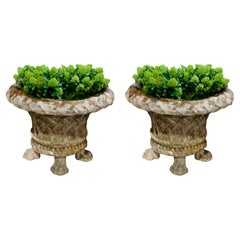 Pair of Basket Weave Design Stone Planters, England, 1920s